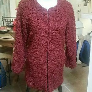 Lady's Fuzzy Red Coat
