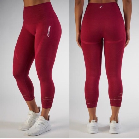 GYMSHARK Pants - S GYMSHARK SEAMLESS CROPPED LEGGINGS BEET MARL