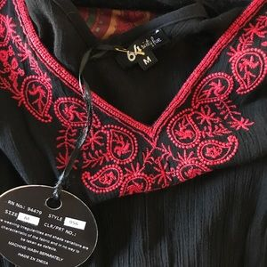 Black w/ Red Embroidery Dress