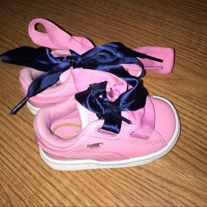 Puma basket patent pink toddler shoes