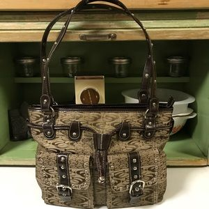 Coach Bag Brown Jacquard Front Pockets