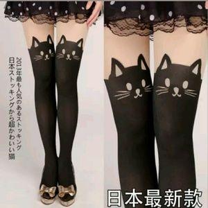 Kitty cat stockings black/nude