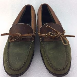 Green Brown Womens Leather Suede Boat Shoe 9B
