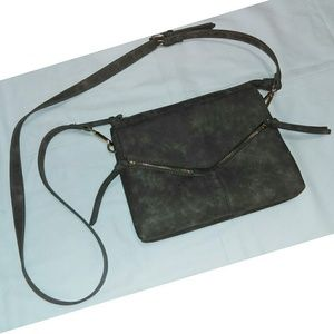 Gray crossbody faux leather bag / purse