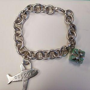 Tiffany & Co Bracelette w/ Airplane & Box Charm