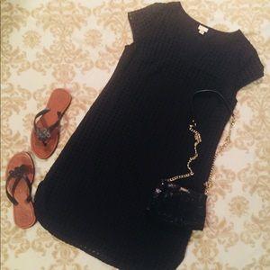 Black Eyelet Cap Sleeve Dress