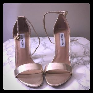 Steve Madden Gold Chunky Heel with Ankle Strap