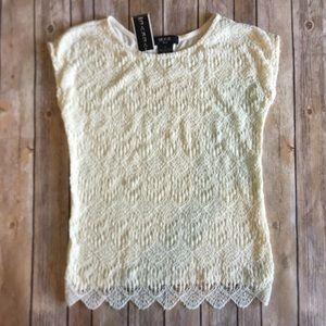 Verve Ami   Lace Ivory Short Sleeve Blouse Top S