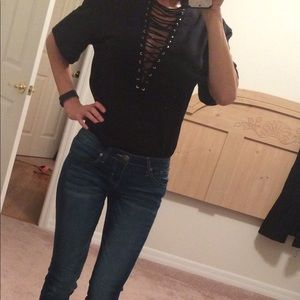 Deep V neck lace up top