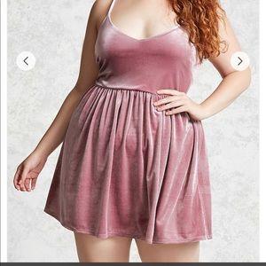 Forever 21+ pink velvet mini dress