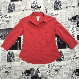 Chico's Sz 0 Red Button Down Top