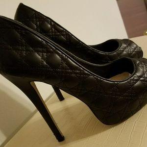 Pep toe platform heels