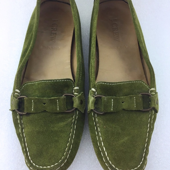 82515f941fa J. Crew Shoes - Green Suede Driving Loafer Women 7 J. Crew Shoe