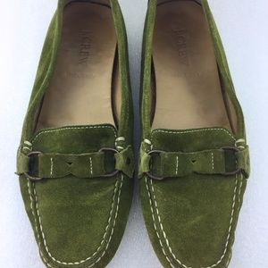 Green Suede Driving Loafer Women 7 J. Crew Shoe