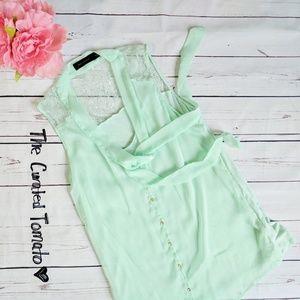 THE LIMITED • mint green lace yoke sleeveless top