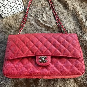 Handbags - Red pebbled leather