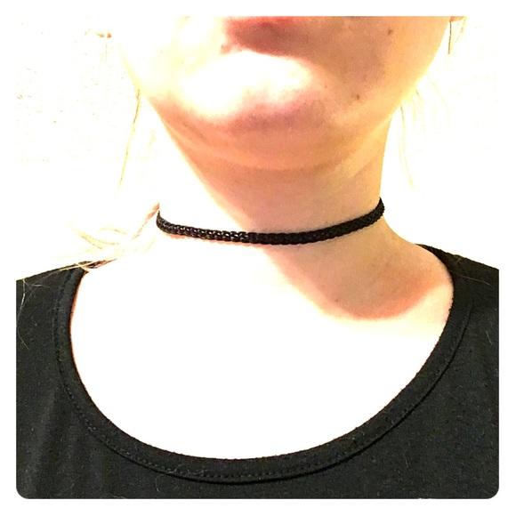 2c85bb50c Black Woven Fabric Choker Necklace 12.5