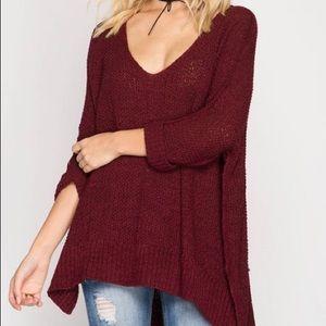 Tops - Knit burgundy deep v neck top