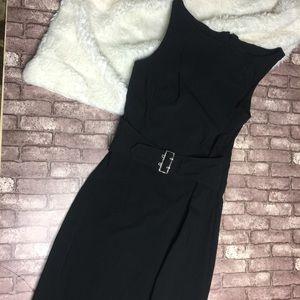 Vintage Stretch Little Black Dress With Belt