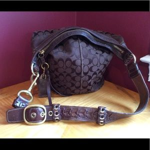 Coach signature jacquard bleaker bag brown
