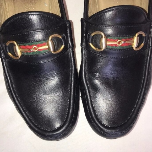 c448eeab0351ba Gucci Shoes - GUCCI Black Leather Web Red   Green Stripe SHOES