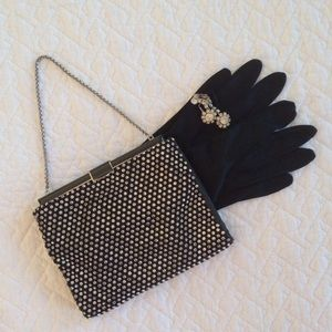 Vintage Rhinestone Black Purse