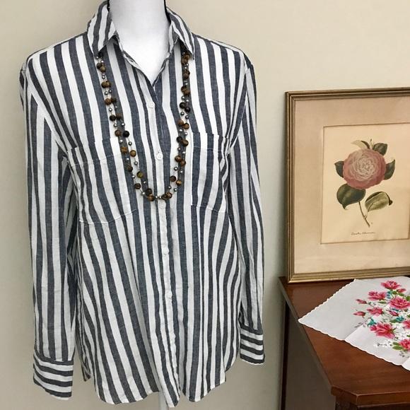 d361bb3abe H&M Tops   Logg Hm Linen Striped Button Down Top   Poshmark