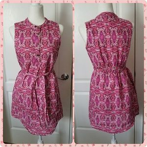 Cynthia Rowley pink linen cotton dress size 4