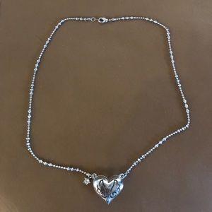Silvertone Puffed Heart Necklace