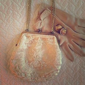 Vintage Cream Silk Beaded Purse