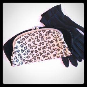 Vintage Velvet Black and White Clutch Purse