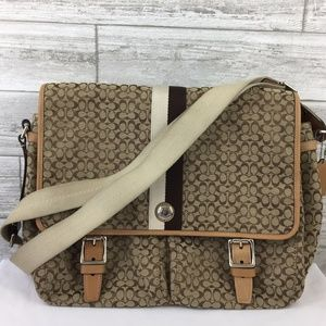 COACH SIGNATURE KHAKI CROSS BODY MESSENGER F70183