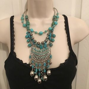 Beautiful and unique silver and turquoise necklace