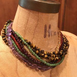 Ciner multi strand beaded vintage necklace