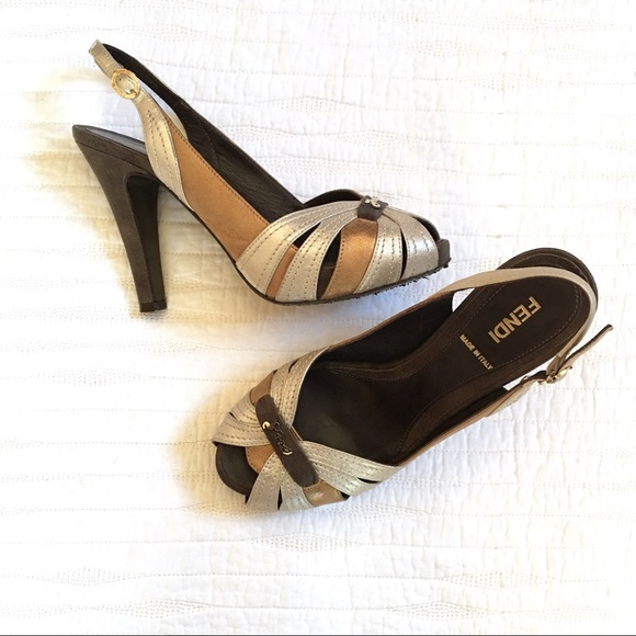 5fea3054fefb Fendi Shoes   Vintage Copper And Silver Peeptoe Heels   Poshmark