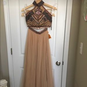 Sherri Hill two piece dress #50075 in nude/multi