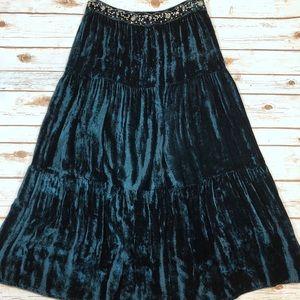 April Cornell Teal Crushed Velvet Skirt