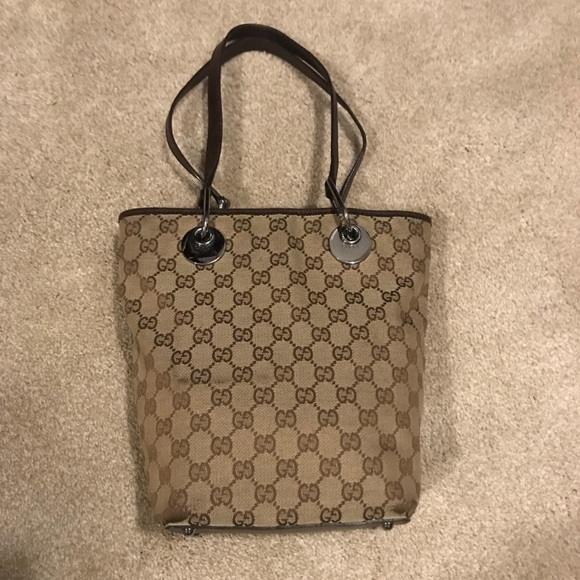 Gucci Handbags - Gucci GG Canvas and Leather Bucket Bag -Authentic