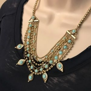 Lucky Brand Gold tone turquoise layered necklace