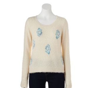 Lauren Conrad Winter White Floral Fuzzy Sweater