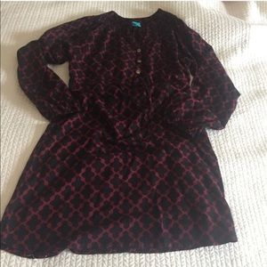 Escapada Maroon Black Geometric Design Dress Small