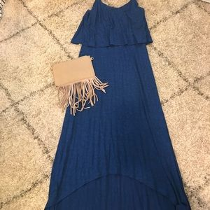 Royal blue high low maxi