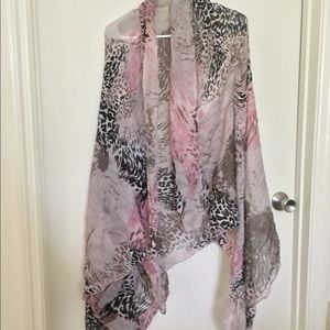 Pink black and white multi print scarf