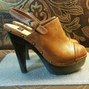 N.Y.L.A Brown Leather Heel Mules size 10