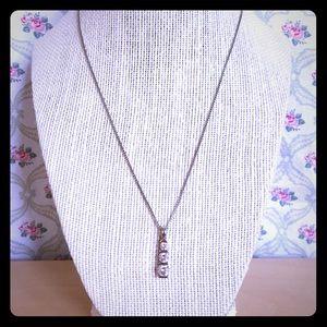 Diamonique three stone pendant and chain