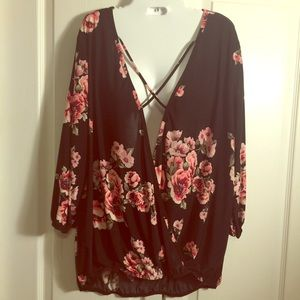 Black and floral open front blouse
