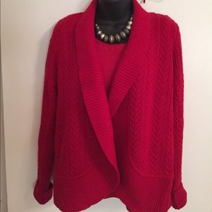 Talbots Red Cable Shawl Collar Open Cardigan-NWOT