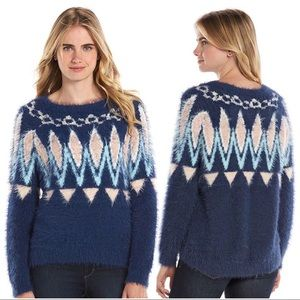 Lauren Conrad Blue Fair Isle Fuzzy Sweater