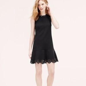 Black LOFT Lazer-cut Scallop Flouce Dress