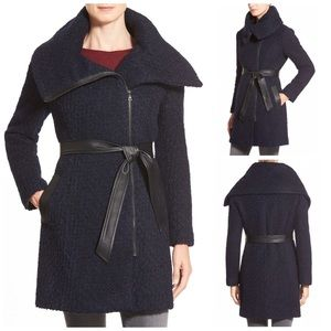 Cole Haan Belted Asymmetrical Boucle Wool Coat